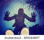 a person with a reflection is a ... | Shutterstock . vector #304264847