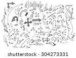 vector hand drawn arrows set...   Shutterstock .eps vector #304273331