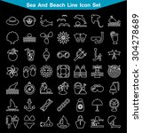 sea and beach line icon set   | Shutterstock .eps vector #304278689