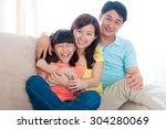 indoor portrait of asian family | Shutterstock . vector #304280069