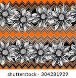 flowers black and white outline ... | Shutterstock .eps vector #304281929