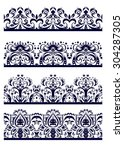 set of lace monochrome brushes | Shutterstock .eps vector #304287305
