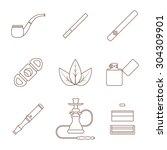 grey outline various tobacco... | Shutterstock . vector #304309901