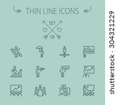business thin line icon set for ... | Shutterstock .eps vector #304321229