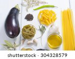 italian food ingredients on... | Shutterstock . vector #304328579
