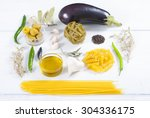 italian food ingredients on... | Shutterstock . vector #304336175