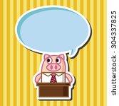 animal pig worker cartoon theme ... | Shutterstock .eps vector #304337825
