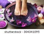 Female Feet At Spa Pedicure...