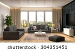 interior with sofa. 3d... | Shutterstock . vector #304351451