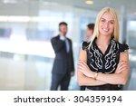 business woman standing in... | Shutterstock . vector #304359194