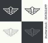 badge and shield with wings.... | Shutterstock .eps vector #304361699