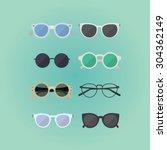 set of hipster glasses flat... | Shutterstock .eps vector #304362149