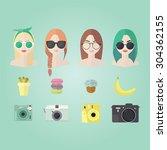 Set Of Hipster Girls  Geek...