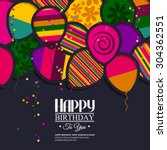 vector birthday card with paper ... | Shutterstock .eps vector #304362551