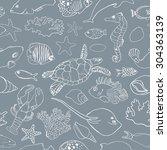 marine seamless pattern....   Shutterstock .eps vector #304363139