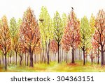 Watercolor Landscape With...