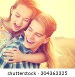 beauty couple having fun... | Shutterstock . vector #304363325