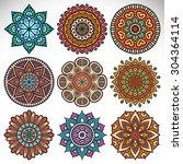 mandalas. vintage decorative... | Shutterstock .eps vector #304364114