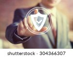 businessman hand press shield... | Shutterstock . vector #304366307