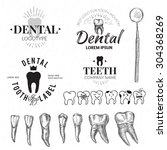 dental labels and icons set.  | Shutterstock . vector #304368269