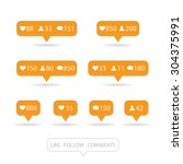 like  follower  comment icons... | Shutterstock .eps vector #304375991