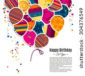 vector birthday card with paper ... | Shutterstock .eps vector #304376549