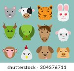 chinese zodiac 12 animal icon... | Shutterstock .eps vector #304376711