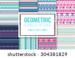 Seamless vector tribal texture set. Vector stripes pattern. Tribal seamless texture. Vintage ethnic seamless backdrop | Shutterstock vector #304381829