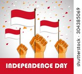 indonesia independence day... | Shutterstock .eps vector #304385069