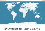 steel blue world map and... | Shutterstock .eps vector #304385741