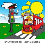 red school bus with children... | Shutterstock . vector #304386851