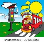 red school bus with children... | Shutterstock . vector #304386851