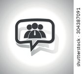 curved chat bubble with three...