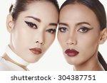 couple close up portrait make... | Shutterstock . vector #304387751