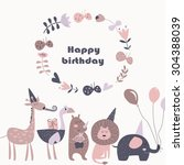 birthday card with africa... | Shutterstock .eps vector #304388039