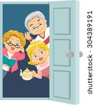 illustration of seniors... | Shutterstock .eps vector #304389191