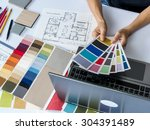 top view of architects hands... | Shutterstock . vector #304391489