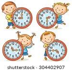 little kids telling time set | Shutterstock .eps vector #304402907