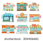 shops and stores icons set in... | Shutterstock .eps vector #304406681