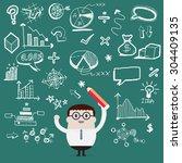 businessman writing   vector | Shutterstock .eps vector #304409135