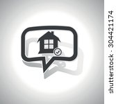 curved chat bubble with house...