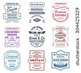 denim typography emblems... | Shutterstock .eps vector #304425329