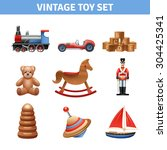 Vintage Toy Realistic Icons Set ...