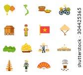 vietnam travel icons set with...