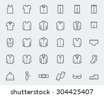 Stock vector men s clothing icons in thin line style 304425407