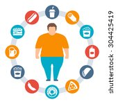 concept of obesity caused by... | Shutterstock .eps vector #304425419