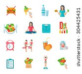 weight loss healthy diet plan... | Shutterstock .eps vector #304425431