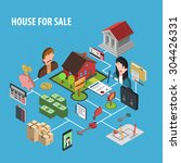 real estate sale concept with... | Shutterstock .eps vector #304426331