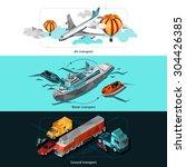transport horizontal banners...   Shutterstock .eps vector #304426385