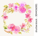watercolor wreath. handmade.... | Shutterstock . vector #304436081